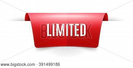Limited Symbol. Red Ribbon Label Tag. Special Offer Sign. Sale. Infographics Price Tag Banner. Limit
