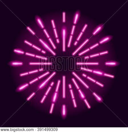 Neon Explosion Of Radial Glowing Rays On Dark Purple Background. Starburst Design Element. Vector 10