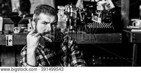 Portrait Of Stylish Bearded Man. Barber Man With Straight Razor. Barber Shop. Vintage Barbershop, Sh