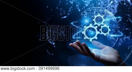 Gears Icon On Screen. Business And Industrial Process Automation Rpa Technology Concept.