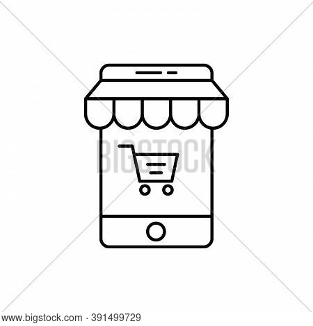 Mobile Payment Technology Single Isolated Icon With Line Or Outline Style
