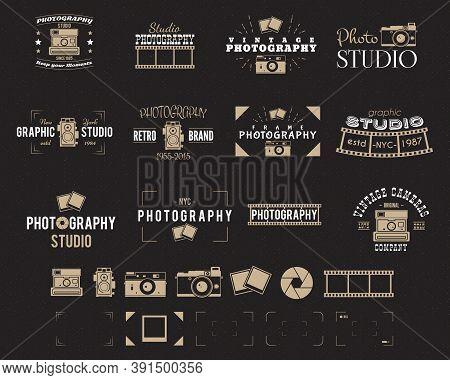 Camera Logo. Vintage Photography Badges, Labels, Dslr. Hipster Design With Photographer Elements. Re