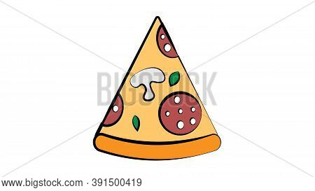 Slice Of Pizza On A White Background, Vector Illustration. Pizza Stuffed With Sausage, Mushrooms, Ch