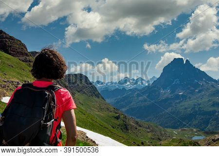 Hiking Woman Looking A Pic Du Midi Ossau In The French Pyrenees Mountains