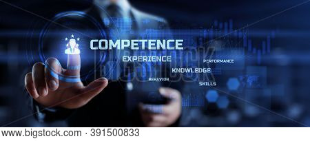 Competence, Skills, Knowledge Business Concept. Businessman Pressing Button With Text And Icons On V