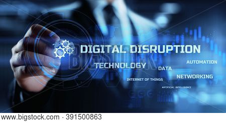 Digital Disruption Transformation Innovation Technology Business Internet Concept.