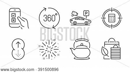 Swipe Up, Fireworks Explosion And Calculator Target Line Icons Set. Teapot, Parking Security And Mob