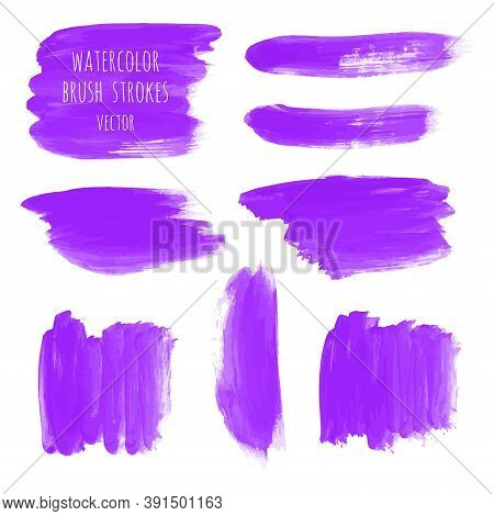 Ultra Violet, Purple, Lilac Grunge Marble Watercolor Dry Brush Strokes Texture Hand Paint On White B
