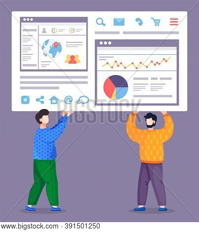 Men Holding Big Web Site Page, Worldwide Cooperation, Online Collaboration, Share Contacts, Social N