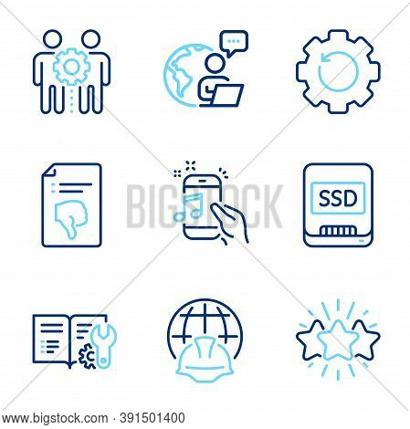 Technology Icons Set. Included Icon As Star, Engineering Documentation, Global Engineering Signs. Th