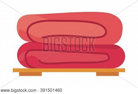 Two Folded Towels At Shelf. Stack Of Folded Textile, Fabric Or Napkins. Vector Illustration In Carto