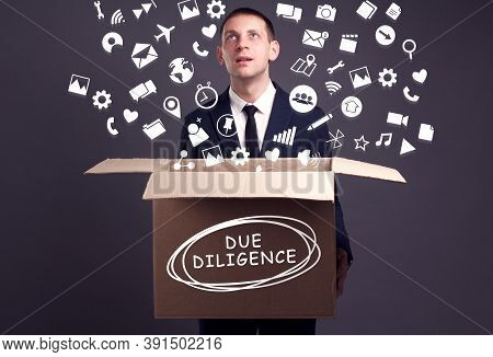 Business, Technology, Internet And Network Concept. A Young Businessman Collects Information To Beco