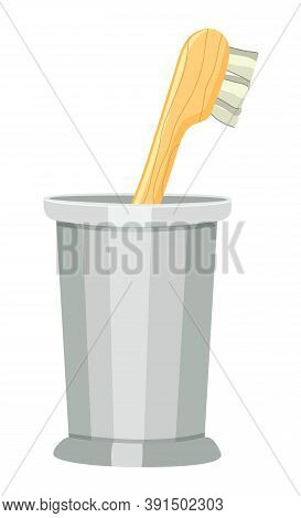 Hygienic Wood Toothbrush, Glass Cup, Bamboo Toothbrush, Glass Cup, Eco Lifestyle, Zero Waste Concept