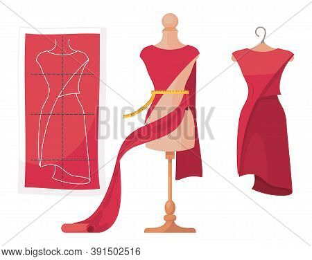 Vector Illustration Isolated At White Background. Process Of Dressmaking. Pattern Of Elegant Dress W