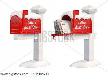 Santa Claus mailbox full of children letters isolated on white. Christmas and new year winter concept background. 3d illustration