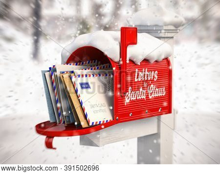 Santa Claus mailbox full of children letters. Christmas and new year winter concept background. 3d illustration