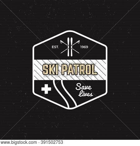 Ski Patrol Patch. Vintage Outdoor Design With Mountain Winter Rescue Gear. Outdoor Adventure Logo De