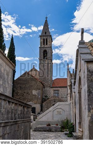 Orebic, Croatia - Jun 15, 2020: Our Lady Of The Angels Franciscan Monastery, Overlooking Orebic With