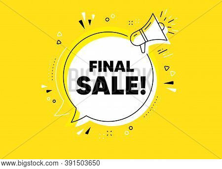 Final Sale. Megaphone Yellow Vector Banner. Special Offer Price Sign. Advertising Discounts Symbol.