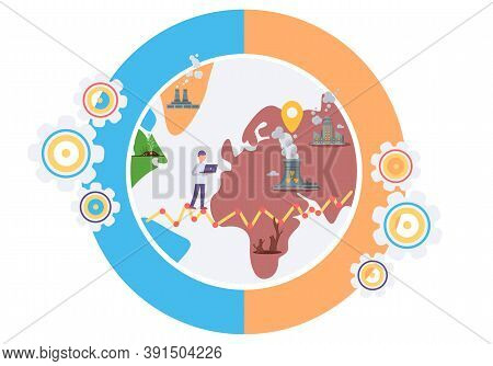 Influence Of Factories Around The World. Environmental Problems Due To Human Activity. Air Pollution