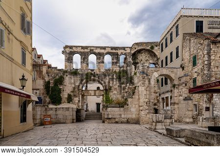 Split, Croatia - Jun 22, 2020: Silver Gate, East Entrance Of The Diocletian S Palace At Split In Cro