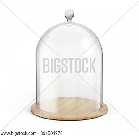 Glass cover dome bell with wooden tray isolated on white background. 3d rendering