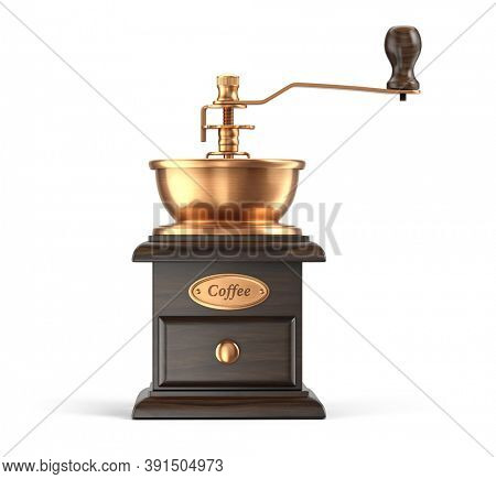 Front view of Retro manual coffee grinder isolated on white background Device for grinding coffee beans - 3d rendering