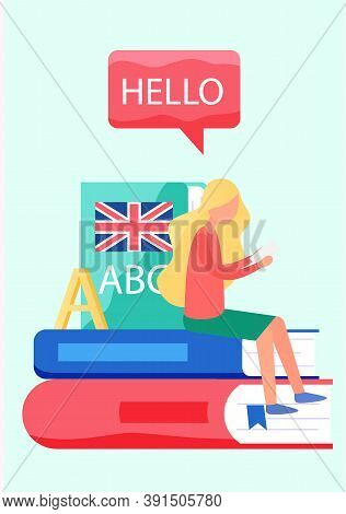 Translation Service Concept. Polyglot Translating Document, Books And Speach. Multilanguage Dictiona