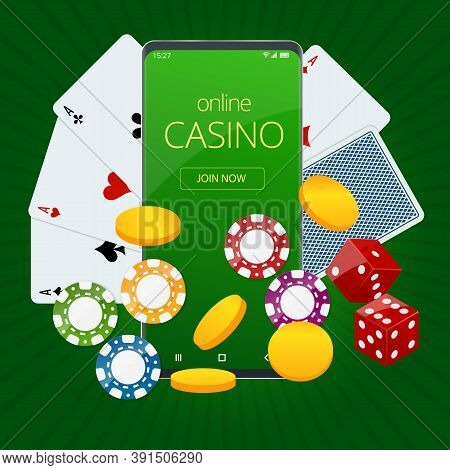 Internet Poker Game. Poker Cards, Chips Game Elements. Online Casino Gambling Concept.