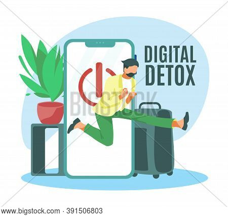 Digital Detox Concept. Young Man Jumping Out Of Smartphone Screen. Millennial User Character Disconn