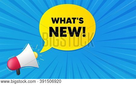 Whats New Symbol. Background With Megaphone. Special Offer Sign. New Arrivals Symbol. Megaphone Bann