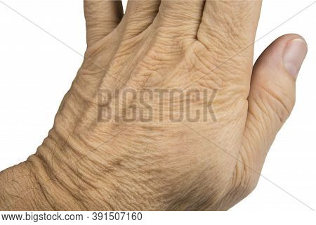 Old Hand Skin Of Retired Man On White