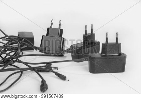 Mobile Phone Chargers On A White Background