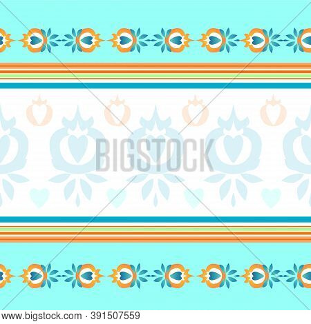 Tablecloth In Vector. Seamless Pattern For Towels, Bed Linen And Tablecloths. The Color Is Blue, Bei