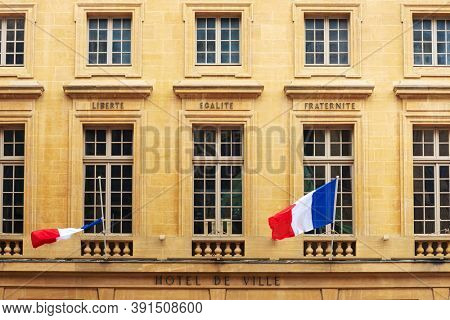 Metz, FRANCE - April 1, 2018: Flag of France in Metz, France
