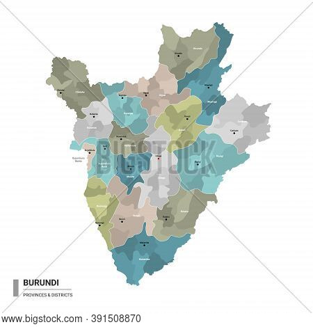 Burundi Higt Detailed Map With Subdivisions. Administrative Map Of Burundi With Districts And Cities