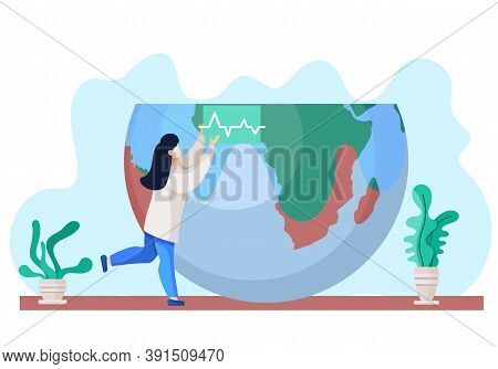 Woman In White Coat, Environmental Investigator Or Chemical Researcher Near The Globe Standing Raise
