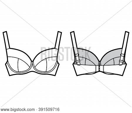 Bra Full Support Lingerie Technical Fashion Illustration With Full Adjustable Straps, Hook-and-eye C