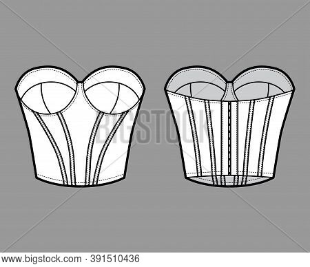Bustier Longline Corsetry Bra Lingerie Technical Fashion Illustration With Molded Cup, Bones, Hook-a