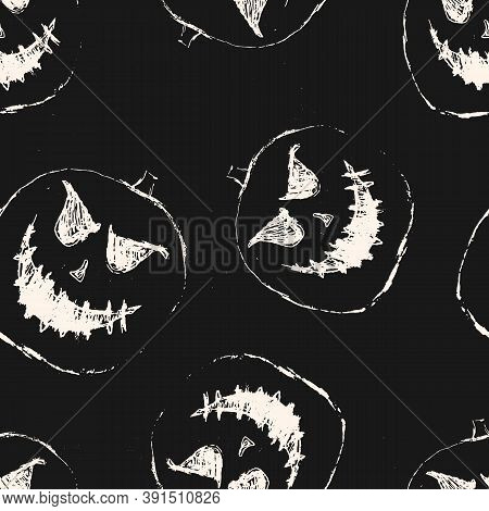 Halloween Vector Seamless Pattern. Black And White Abstract Texture With Scary Pumpkin Face, Jack O