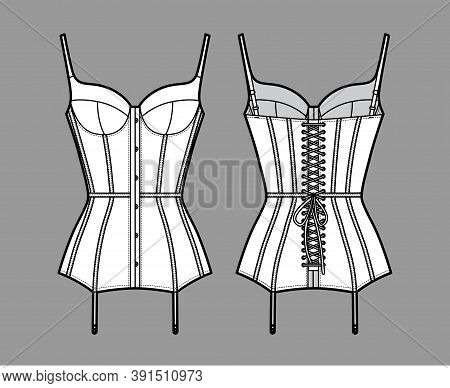 Corselette Bustier Marry Widow Lingerie Technical Fashion Illustration With Molded Cup, Back Laced,