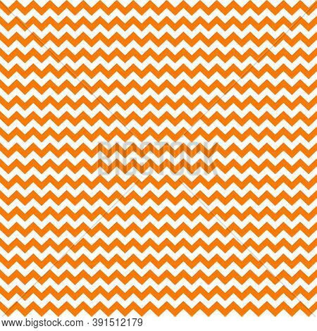 Zig Zag Halloween Pattern. Regular Chevron Stripes Of Orange And White Color. Classic Zigzag Lines A