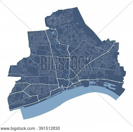 Kingston Upon Hull Map. Detailed Vector Map Of Kingston Upon Hull City Administrative Area. Cityscap