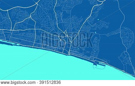 Detailed Map Of Brighton & Hove City Administrative Area. Royalty Free Vector Illustration. Cityscap