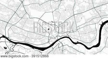 Urban City Map Of Newcastle Upon Tyne. Vector Illustration, Newcastle Upon Tyne Map Grayscale Art Po