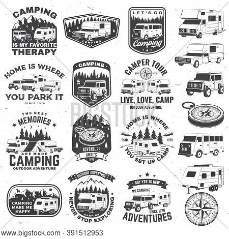 Set Of Rv Camping Badges, Patches. Vector Illustration. Concept For Shirt Or Logo, Print, Stamp Or T