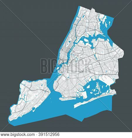 New York Map. Detailed Map Of New York City Administrative Area. Cityscape Panorama. Royalty Free Ve