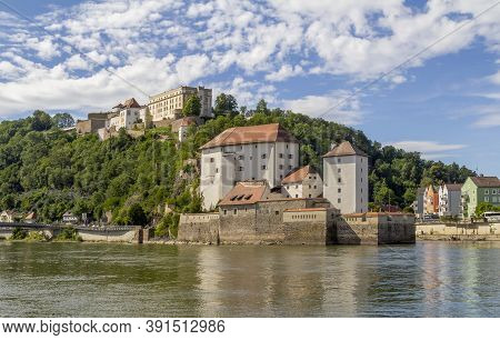 Waterside Impression Of Passau Including The Veste Oberhaus And The Veste Niederhaus In Lower Bavari