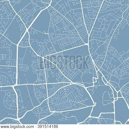 Detailed Map Of Nottingham City Administrative Area. Royalty Free Vector Illustration. Cityscape Pan