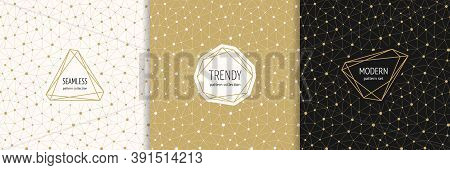 Vector Golden Minimal Seamless Patterns With Stylish Modern Labels. Elegant Gold Geometric Texture W